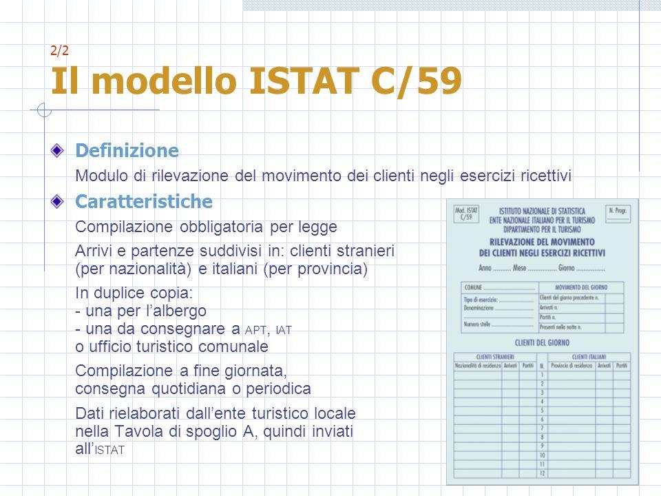 2/2 Il modello ISTAT C/59 Definizione Modulo di rilevazione del movimento dei clienti negli esercizi ricettivi Caratteristiche Compilazione obbligator
