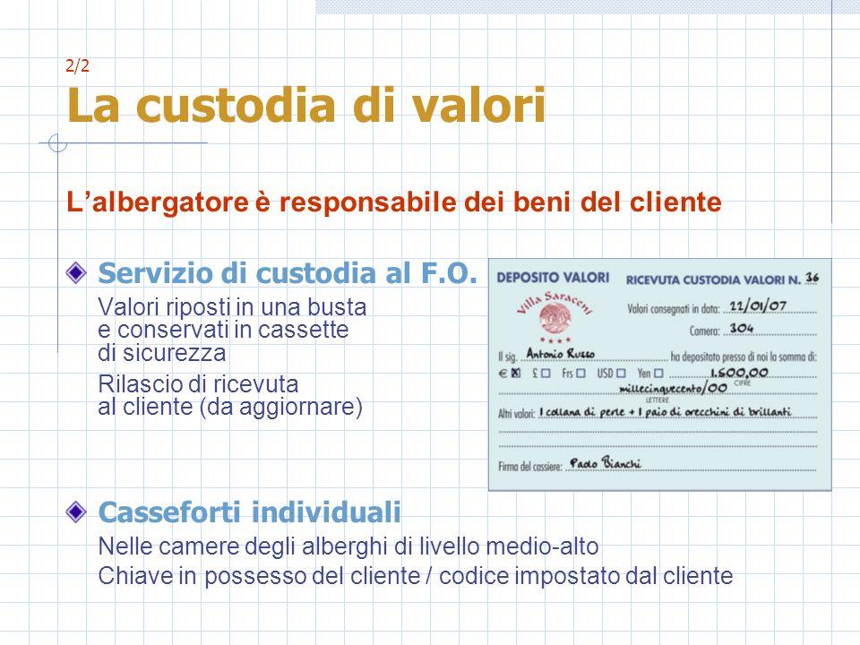 2/2 La custodia di valori Lalbergatore è responsabile dei beni del cliente Servizio di custodia al F.O. Valori riposti in una busta e conservati in ca