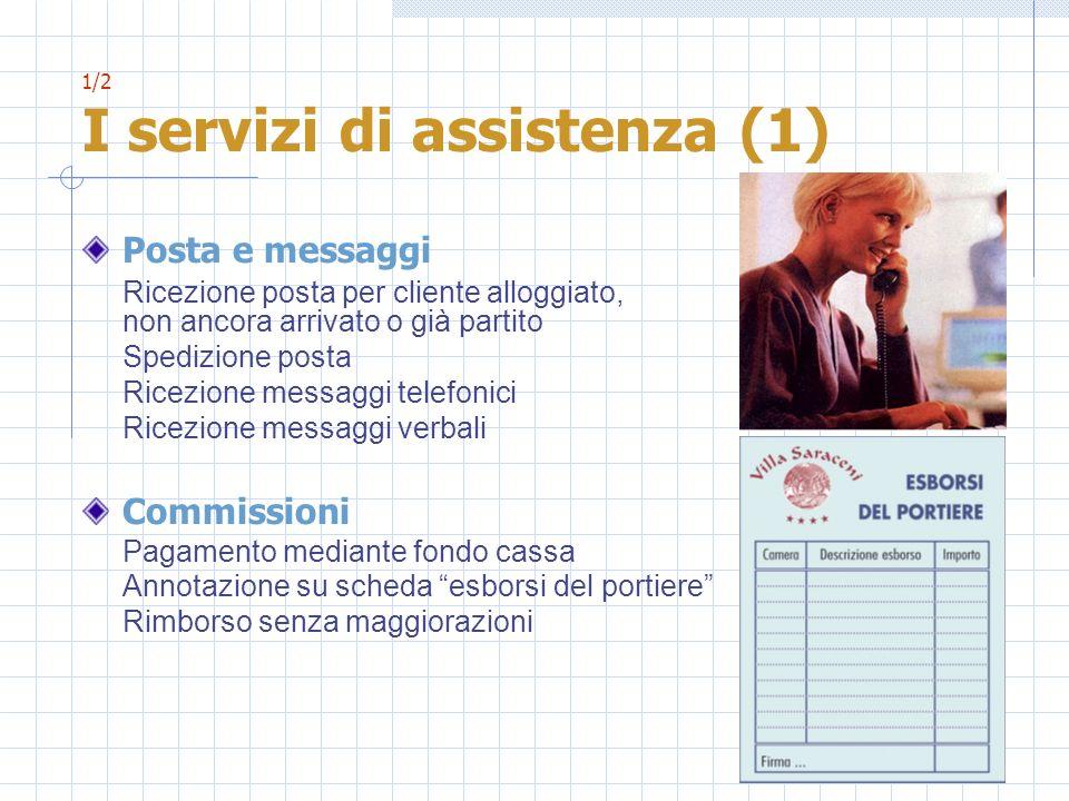 1/2 I servizi di assistenza (1) Posta e messaggi Ricezione posta per cliente alloggiato, non ancora arrivato o già partito Spedizione posta Ricezione