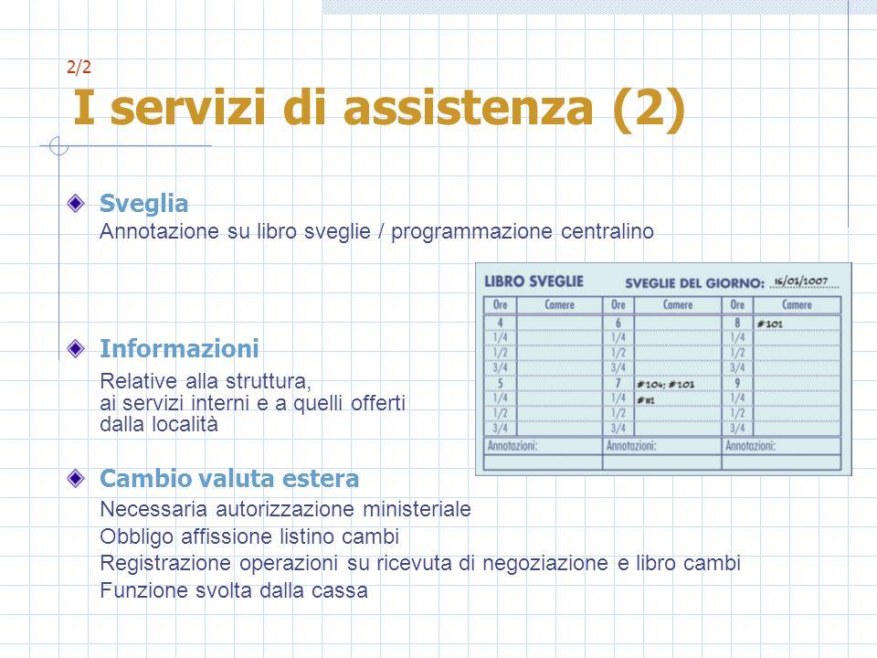 2/2 I servizi di assistenza (2) Sveglia Annotazione su libro sveglie / programmazione centralino Informazioni Relative alla struttura, ai servizi inte