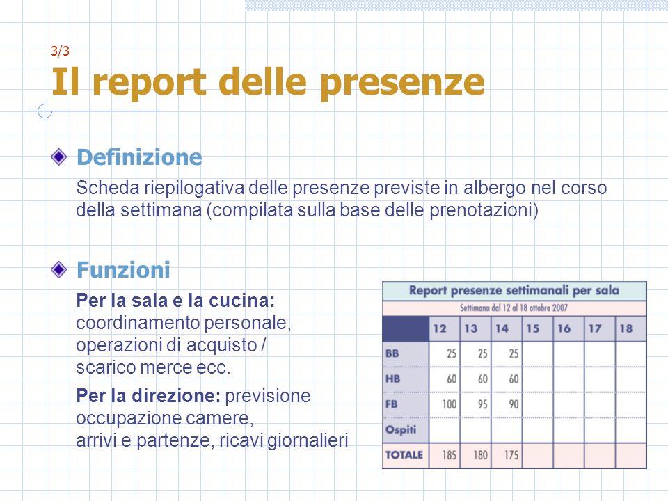 3/3 Il report delle presenze Definizione Scheda riepilogativa delle presenze previste in albergo nel corso della settimana (compilata sulla base delle
