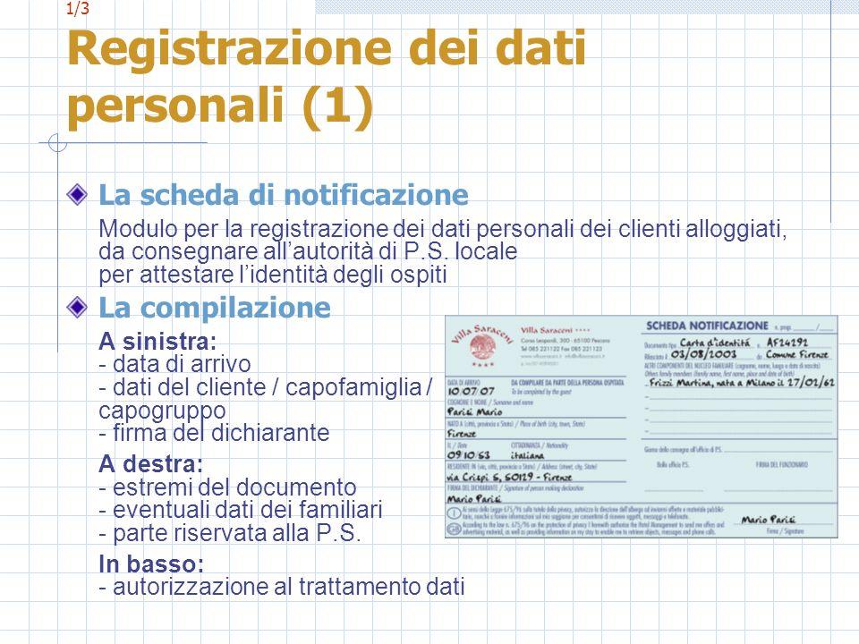 1/3 Registrazione dei dati personali (1) La scheda di notificazione Modulo per la registrazione dei dati personali dei clienti alloggiati, da consegna