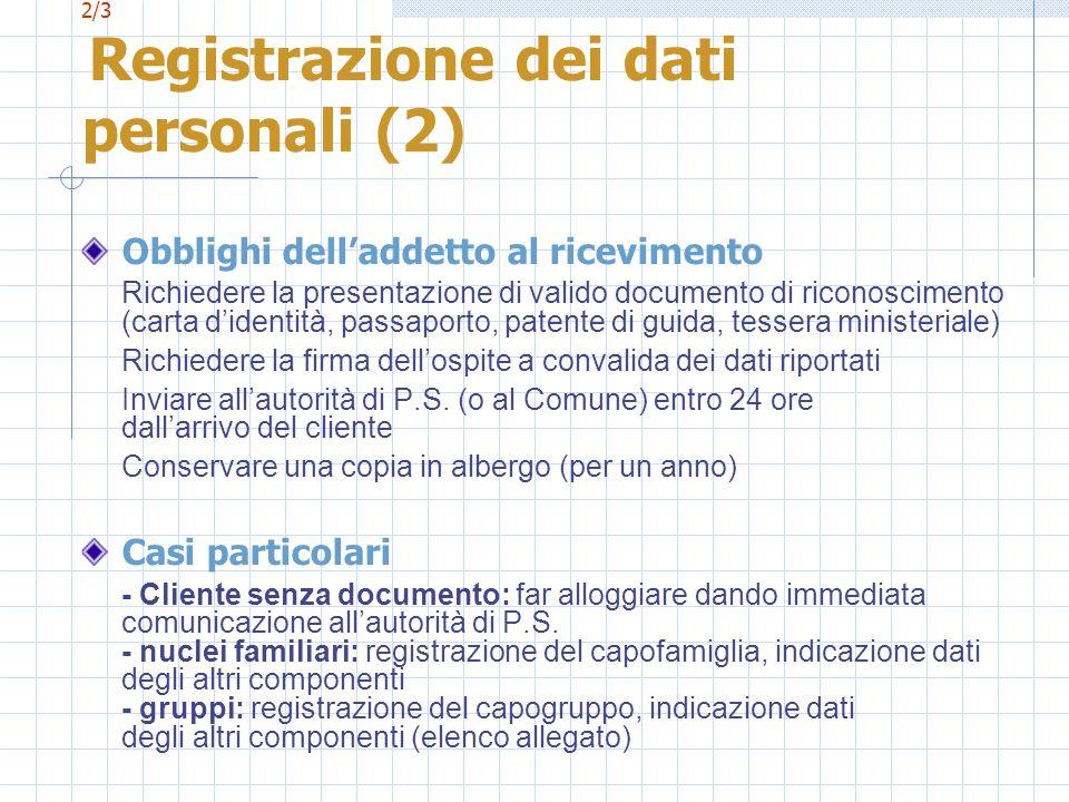 2/3 Registrazione dei dati personali (2) Obblighi delladdetto al ricevimento Richiedere la presentazione di valido documento di riconoscimento (carta