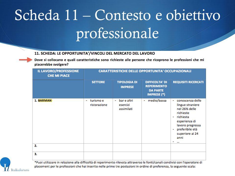 Scheda 11 – Contesto e obiettivo professionale