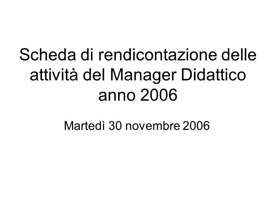 Scheda di rendicontazione delle attività del Manager Didattico anno 2006 Martedì 30 novembre 2006