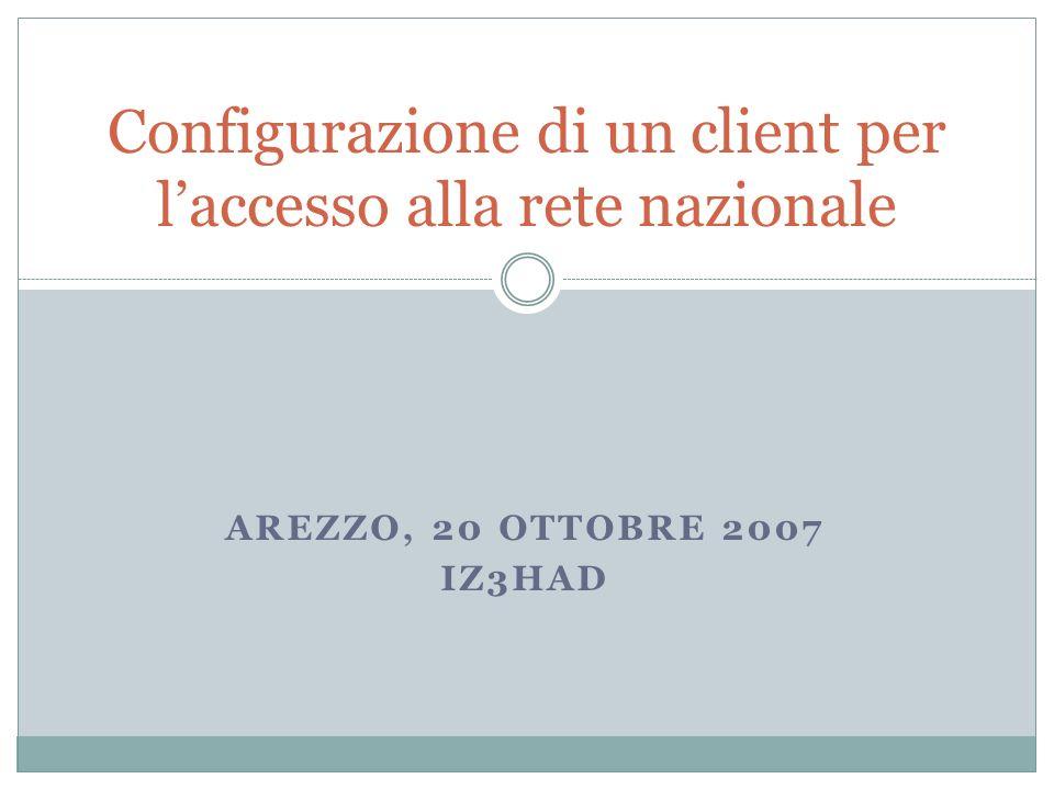 AREZZO, 20 OTTOBRE 2007 IZ3HAD Configurazione di un client per laccesso alla rete nazionale