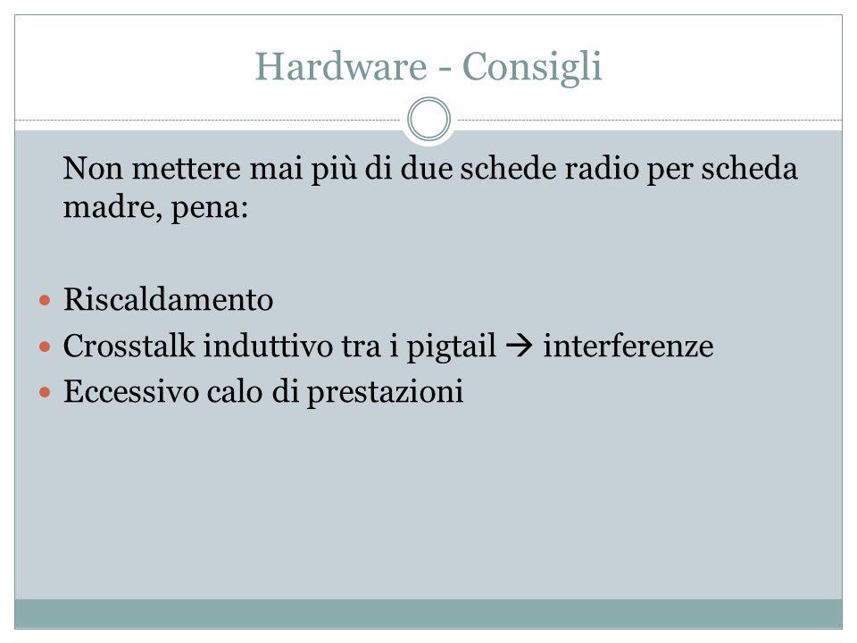 Hardware - Consigli Non mettere mai più di due schede radio per scheda madre, pena: Riscaldamento Crosstalk induttivo tra i pigtail interferenze Eccessivo calo di prestazioni