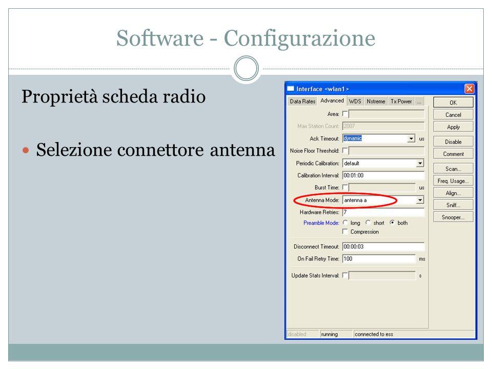 Software - Configurazione Proprietà scheda radio Selezione connettore antenna