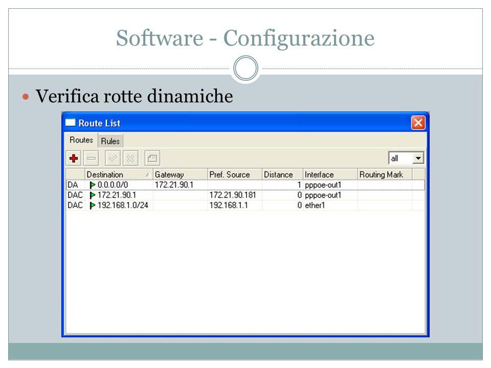 Software - Configurazione Verifica rotte dinamiche