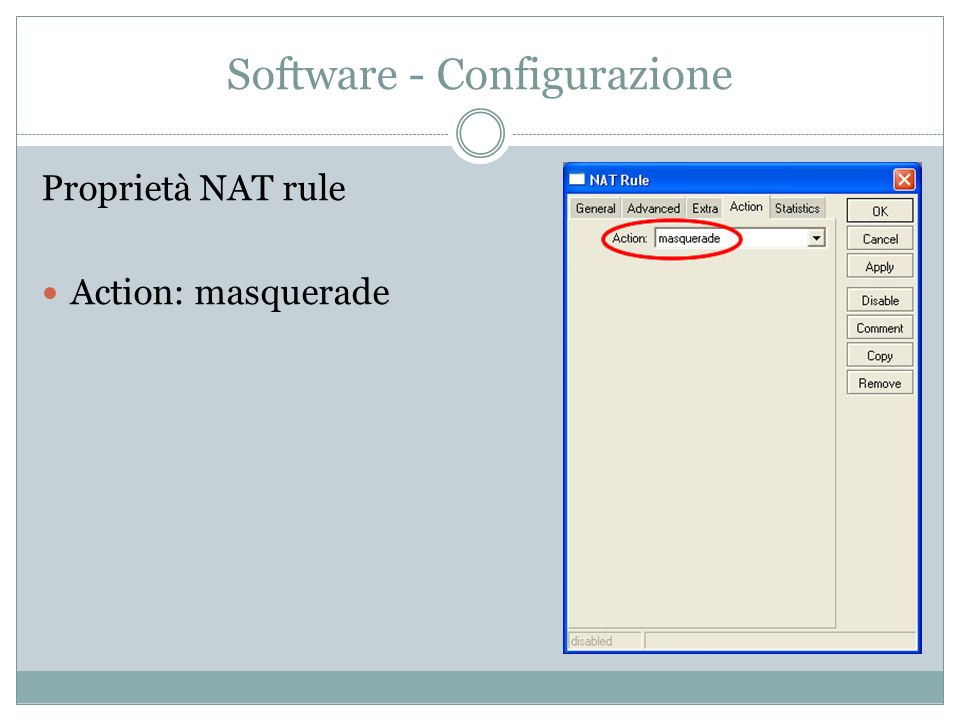 Software - Configurazione Proprietà NAT rule Action: masquerade