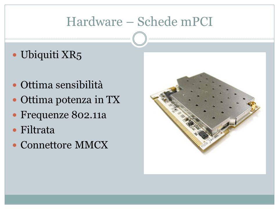 Hardware – Schede mPCI Ubiquiti XR5 Ottima sensibilità Ottima potenza in TX Frequenze 802.11a Filtrata Connettore MMCX