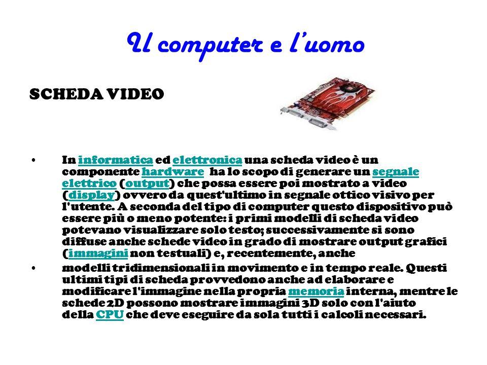 Il computer e luomo SCHEDA VIDEO In informatica ed elettronica una scheda video è un componente hardware ha lo scopo di generare un segnale elettrico