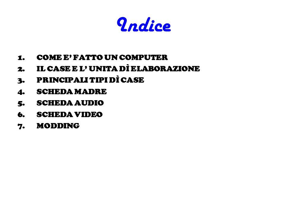 Indice 1.COME E FATTO UN COMPUTER 2.IL CASE E L UNITA DÌ ELABORAZIONE 3.PRINCIPALI TIPI DÌ CASE 4.SCHEDA MADRE 5.SCHEDA AUDIO 6.SCHEDA VIDEO 7.MODDING