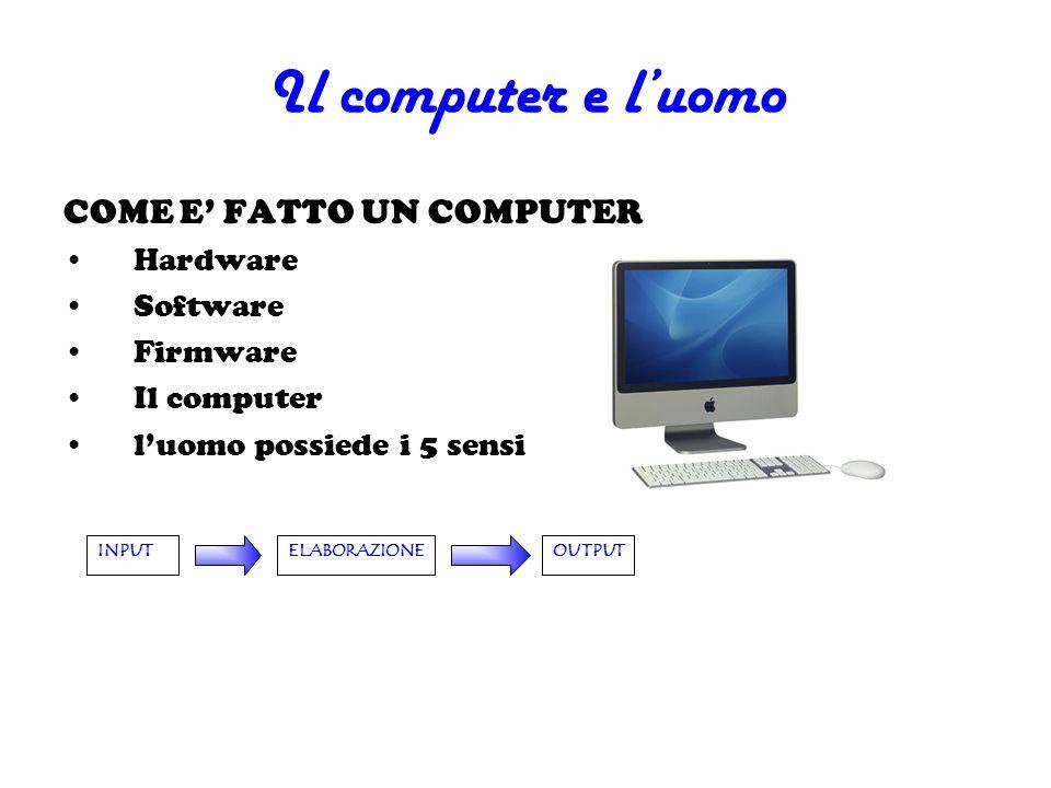 Il computer e luomo COME E FATTO UN COMPUTER Hardware Software Firmware Il computer luomo possiede i 5 sensi OUTPUTELABORAZIONEINPUT