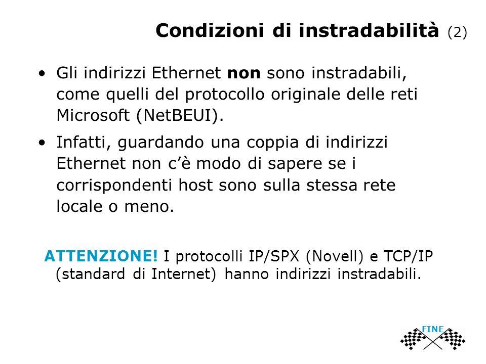 Gli indirizzi Ethernet non sono instradabili, come quelli del protocollo originale delle reti Microsoft (NetBEUI). Infatti, guardando una coppia di in