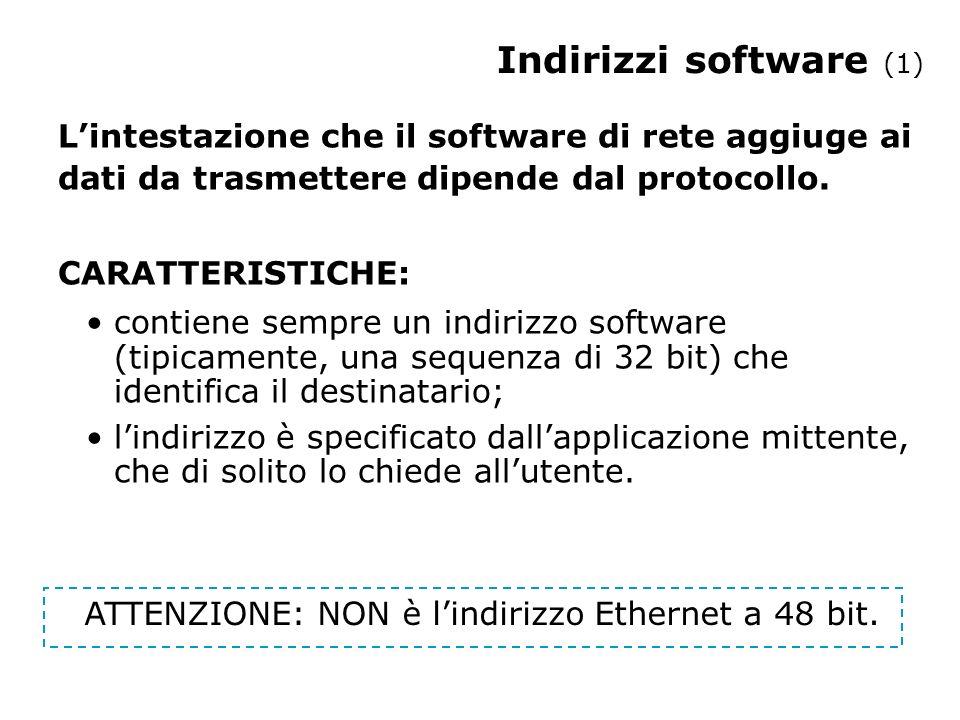 Indirizzi software (2) Lindirizzo Ethernet identifica una specifica scheda hardware.