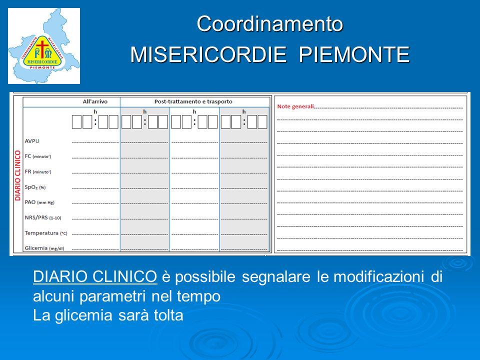 Coordinamento MISERICORDIE PIEMONTE DIARIO CLINICO è possibile segnalare le modificazioni di alcuni parametri nel tempo La glicemia sarà tolta