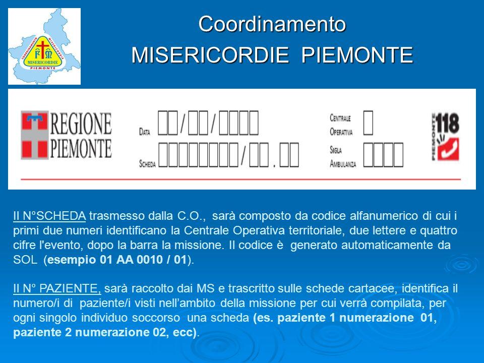 Coordinamento Il N°SCHEDA trasmesso dalla C.O., sarà composto da codice alfanumerico di cui i primi due numeri identificano la Centrale Operativa terr