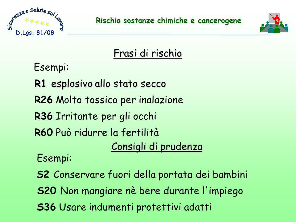 R26 Molto tossico per inalazione R36 Irritante per gli occhi R60 Può ridurre la fertilità Frasi di rischio R1 esplosivo allo stato secco Esempi: Consi