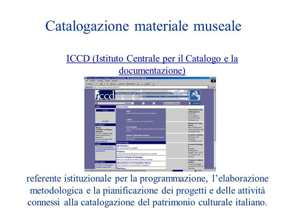 Catalogazione materiale museale ICCD (Istituto Centrale per il Catalogo e la documentazione) referente istituzionale per la programmazione, lelaborazione metodologica e la pianificazione dei progetti e delle attività connessi alla catalogazione del patrimonio culturale italiano.