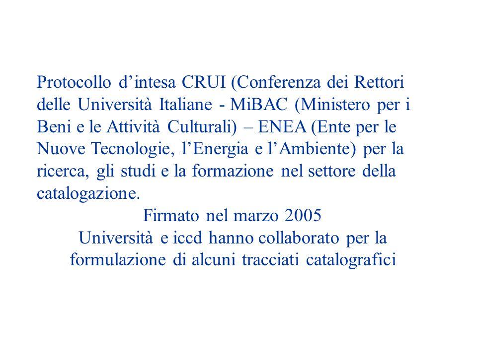 Protocollo dintesa CRUI (Conferenza dei Rettori delle Università Italiane - MiBAC (Ministero per i Beni e le Attività Culturali) – ENEA (Ente per le Nuove Tecnologie, lEnergia e lAmbiente) per la ricerca, gli studi e la formazione nel settore della catalogazione.