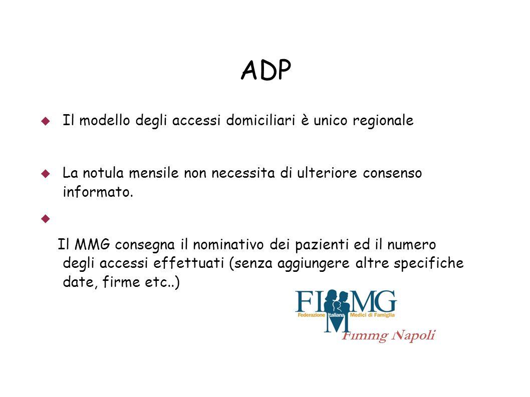 ADP Il modello degli accessi domiciliari è unico regionale La notula mensile non necessita di ulteriore consenso informato. Il MMG consegna il nominat