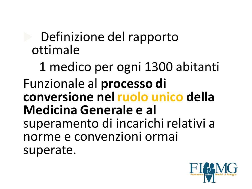 Definizione del rapporto ottimale 1 medico per ogni 1300 abitanti Funzionale al processo di conversione nel ruolo unico della Medicina Generale e al s