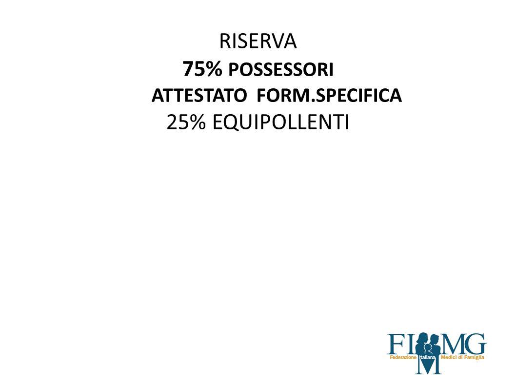 ASSEGNAZIONE INCARICHI DI ASSISTENZA PRIMARIA E CONTINUITA ASSISTENZIALE ART 2 AIR RISERVA 75% POSSESSORI ATTESTATO FORM.SPECIFICA 25% EQUIPOLLENTI
