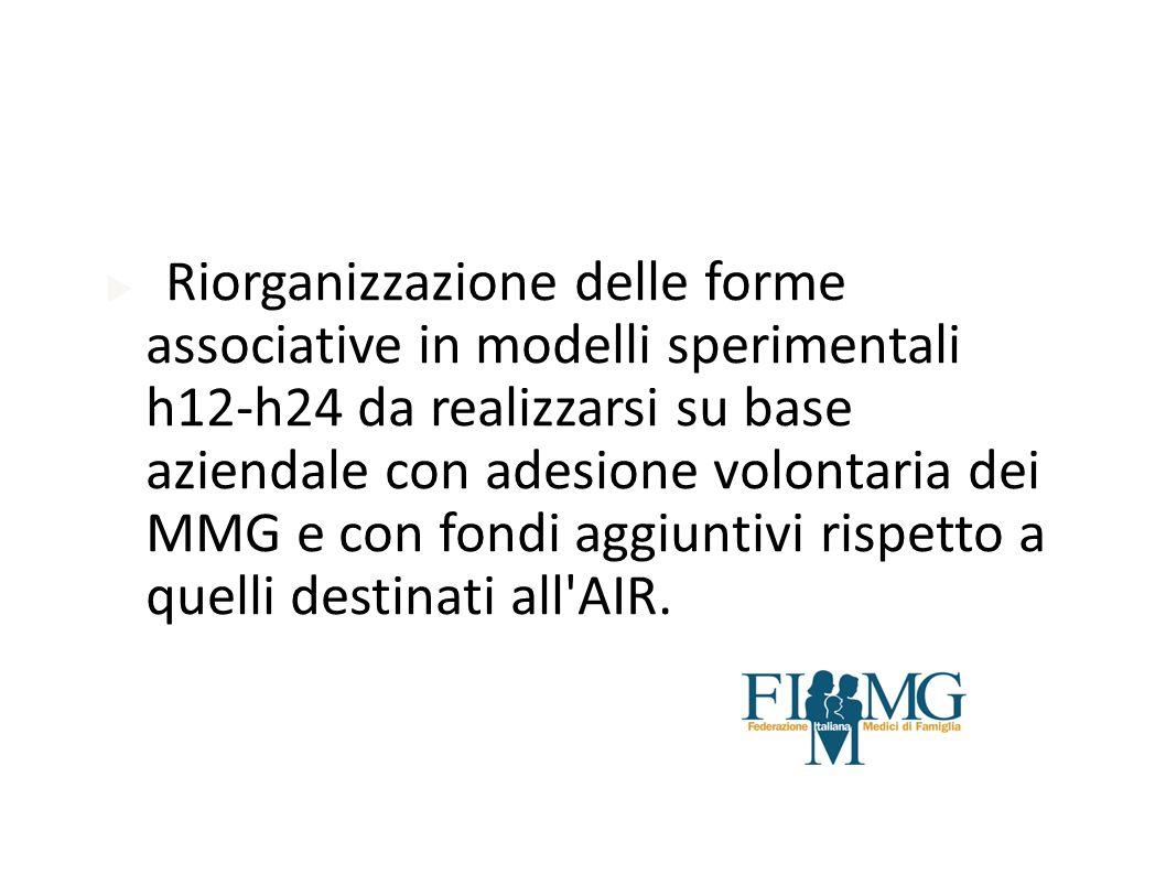 Riorganizzazione delle forme associative in modelli sperimentali h12-h24 da realizzarsi su base aziendale con adesione volontaria dei MMG e con fondi