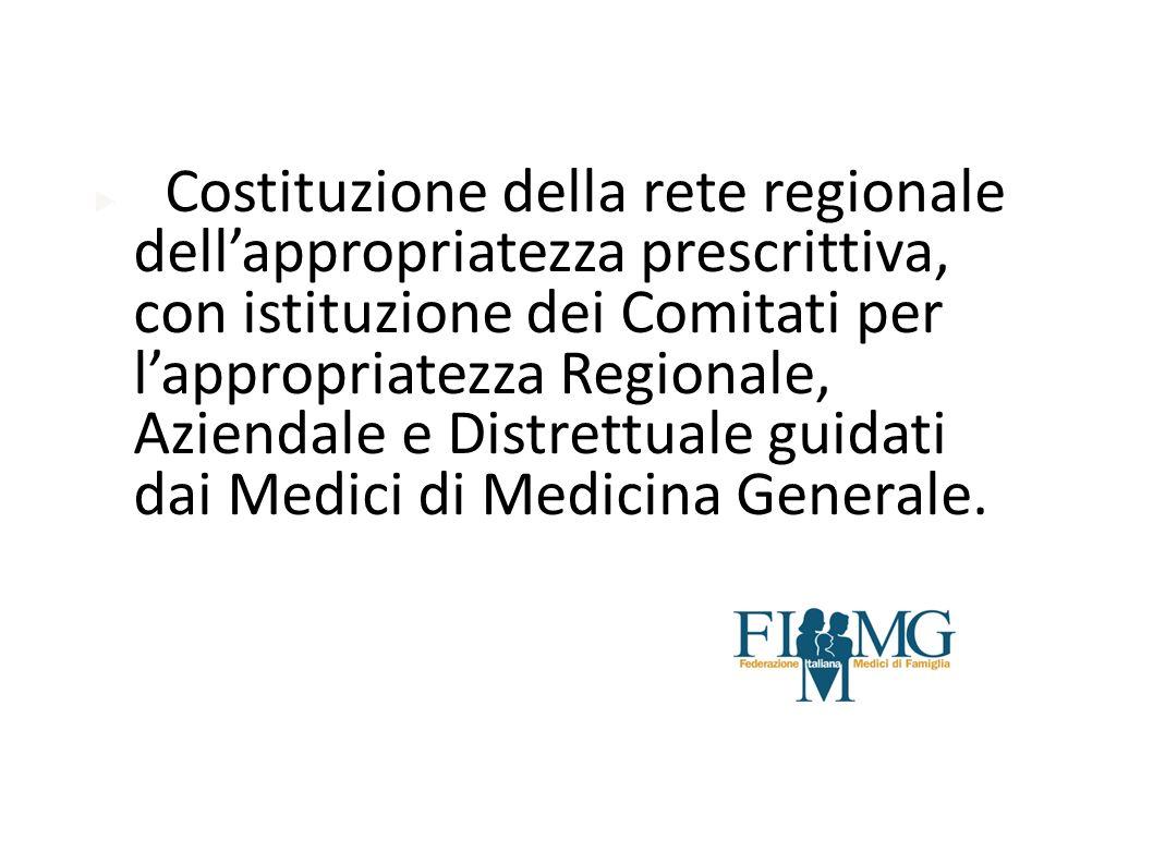 Costituzione della rete regionale dellappropriatezza prescrittiva, con istituzione dei Comitati per lappropriatezza Regionale, Aziendale e Distrettual