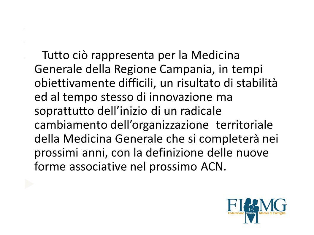 Tutto ciò rappresenta per la Medicina Generale della Regione Campania, in tempi obiettivamente difficili, un risultato di stabilità ed al tempo stesso