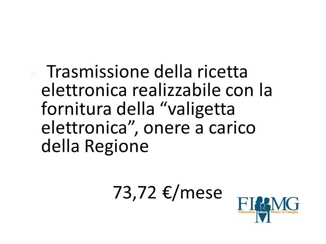 Trasmissione della ricetta elettronica realizzabile con la fornitura della valigetta elettronica, onere a carico della Regione 73,72 /mese