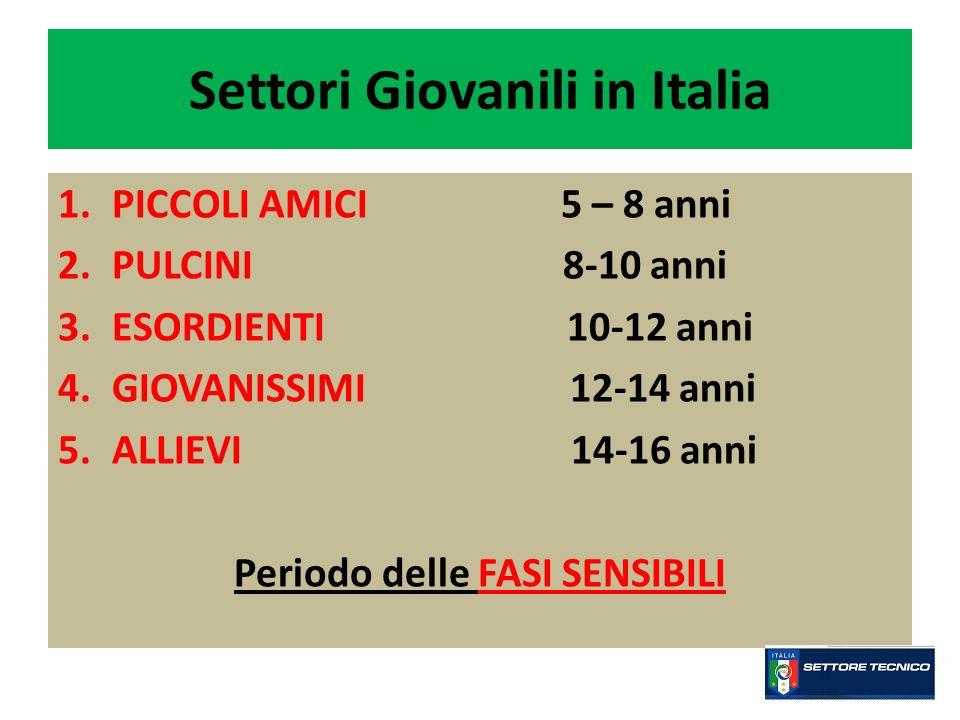 Settori Giovanili in Italia 1.PICCOLI AMICI 5 – 8 anni 2.PULCINI 8-10 anni 3.ESORDIENTI 10-12 anni 4.GIOVANISSIMI 12-14 anni 5.ALLIEVI 14-16 anni Peri