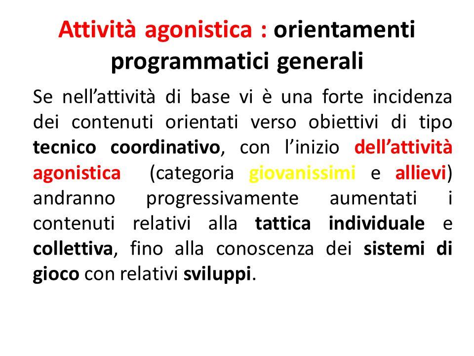 Attività agonistica : orientamenti programmatici generali Se nellattività di base vi è una forte incidenza dei contenuti orientati verso obiettivi di
