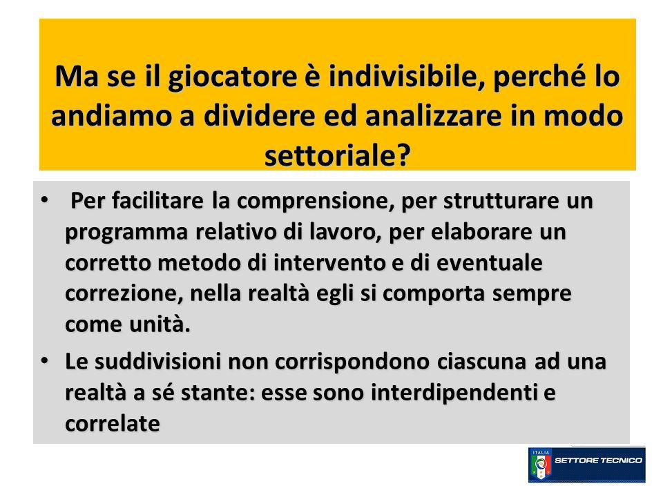 Ma se il giocatore è indivisibile, perché lo andiamo a dividere ed analizzare in modo settoriale? Per facilitare la comprensione, per strutturare un p