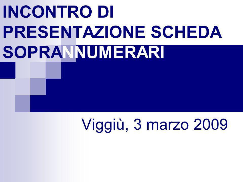 INCONTRO DI PRESENTAZIONE SCHEDA SOPRANNUMERARI Viggiù, 3 marzo 2009