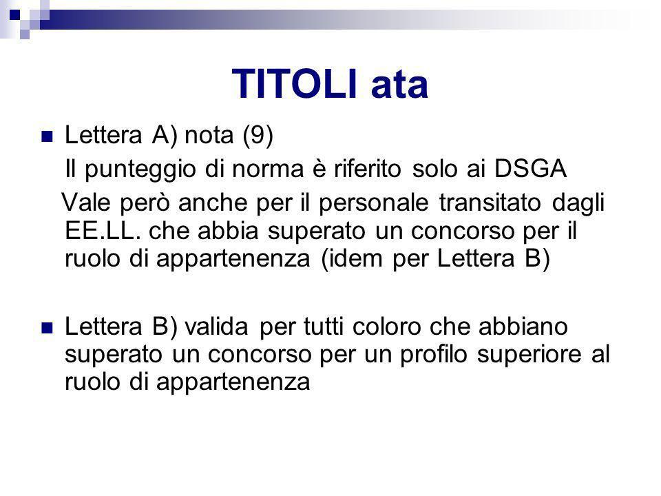 TITOLI ata Lettera A) nota (9) Il punteggio di norma è riferito solo ai DSGA Vale però anche per il personale transitato dagli EE.LL. che abbia supera