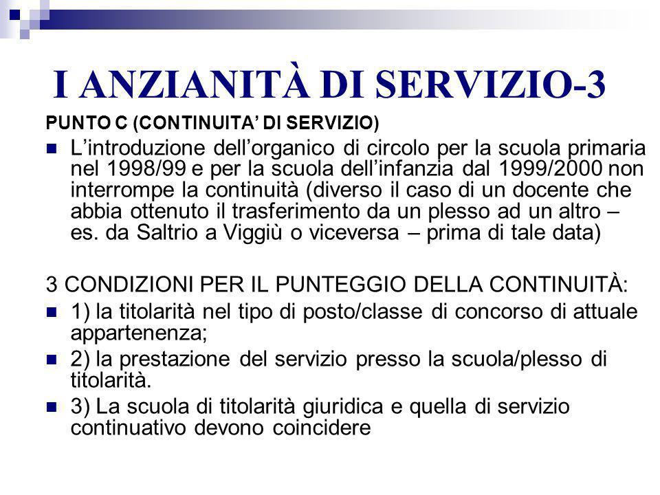 I ANZIANITÀ DI SERVIZIO-3 PUNTO C (CONTINUITA DI SERVIZIO) Lintroduzione dellorganico di circolo per la scuola primaria nel 1998/99 e per la scuola de