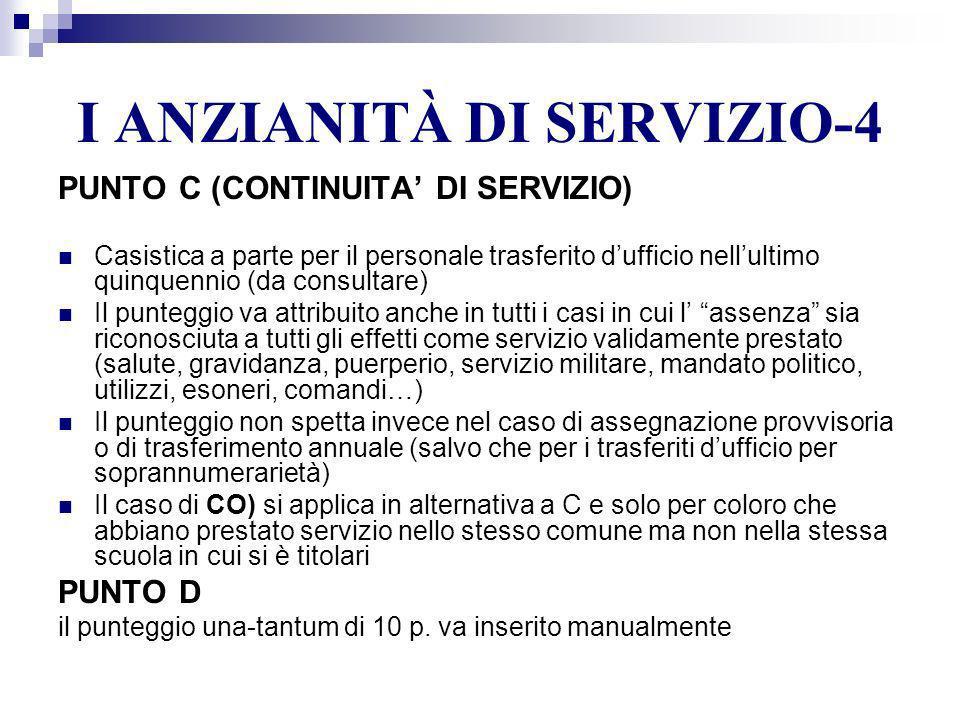 I ANZIANITÀ DI SERVIZIO-4 PUNTO C (CONTINUITA DI SERVIZIO) Casistica a parte per il personale trasferito dufficio nellultimo quinquennio (da consultar