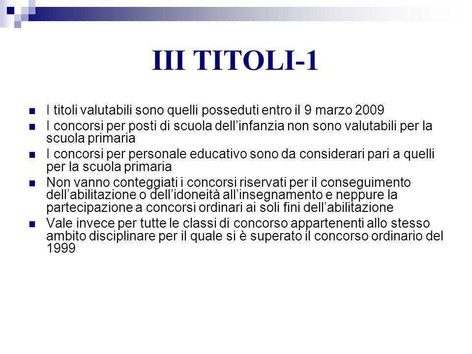 III TITOLI-1 I titoli valutabili sono quelli posseduti entro il 9 marzo 2009 I concorsi per posti di scuola dellinfanzia non sono valutabili per la sc