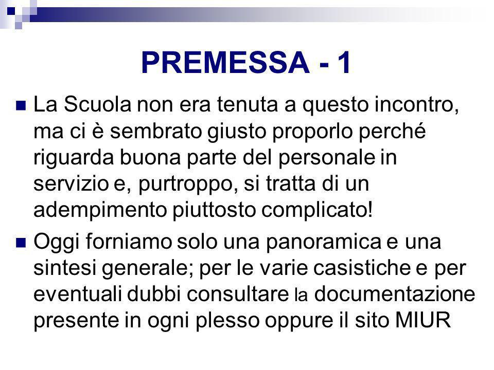 PREMESSA - 1 La Scuola non era tenuta a questo incontro, ma ci è sembrato giusto proporlo perché riguarda buona parte del personale in servizio e, pur