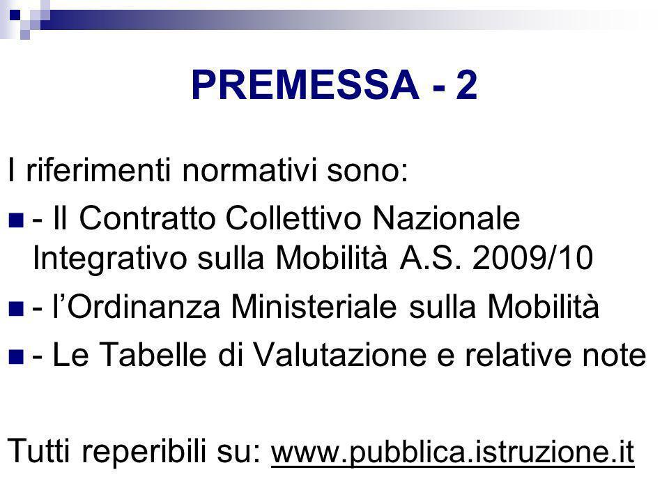 PREMESSA - 2 I riferimenti normativi sono: - Il Contratto Collettivo Nazionale Integrativo sulla Mobilità A.S. 2009/10 - lOrdinanza Ministeriale sulla