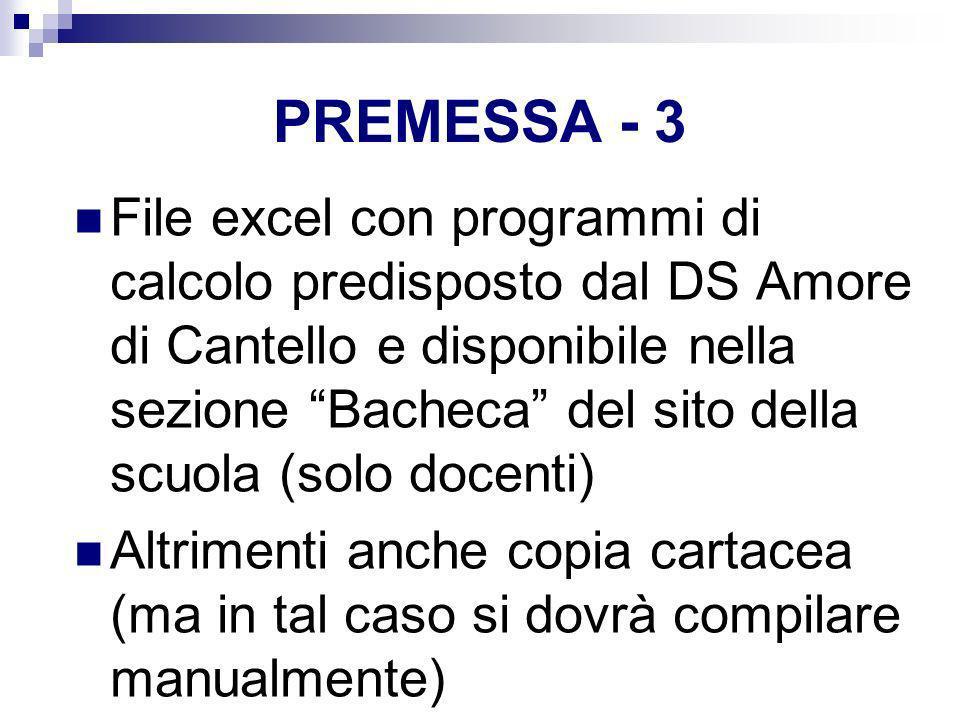 PREMESSA - 3 File excel con programmi di calcolo predisposto dal DS Amore di Cantello e disponibile nella sezione Bacheca del sito della scuola (solo