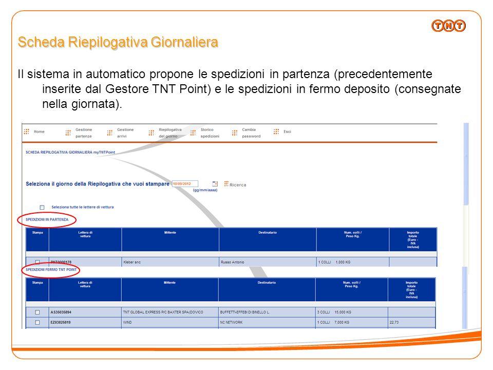 Scheda Riepilogativa Giornaliera Il sistema in automatico propone le spedizioni in partenza (precedentemente inserite dal Gestore TNT Point) e le sped