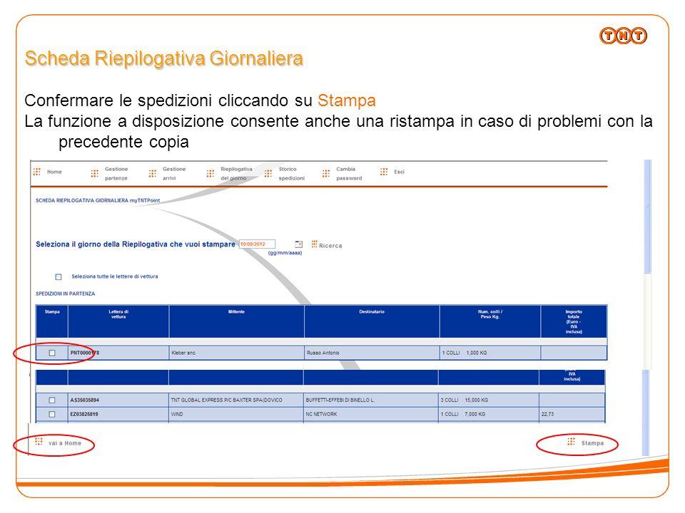 Scheda Riepilogativa Giornaliera Confermare le spedizioni cliccando su Stampa La funzione a disposizione consente anche una ristampa in caso di proble