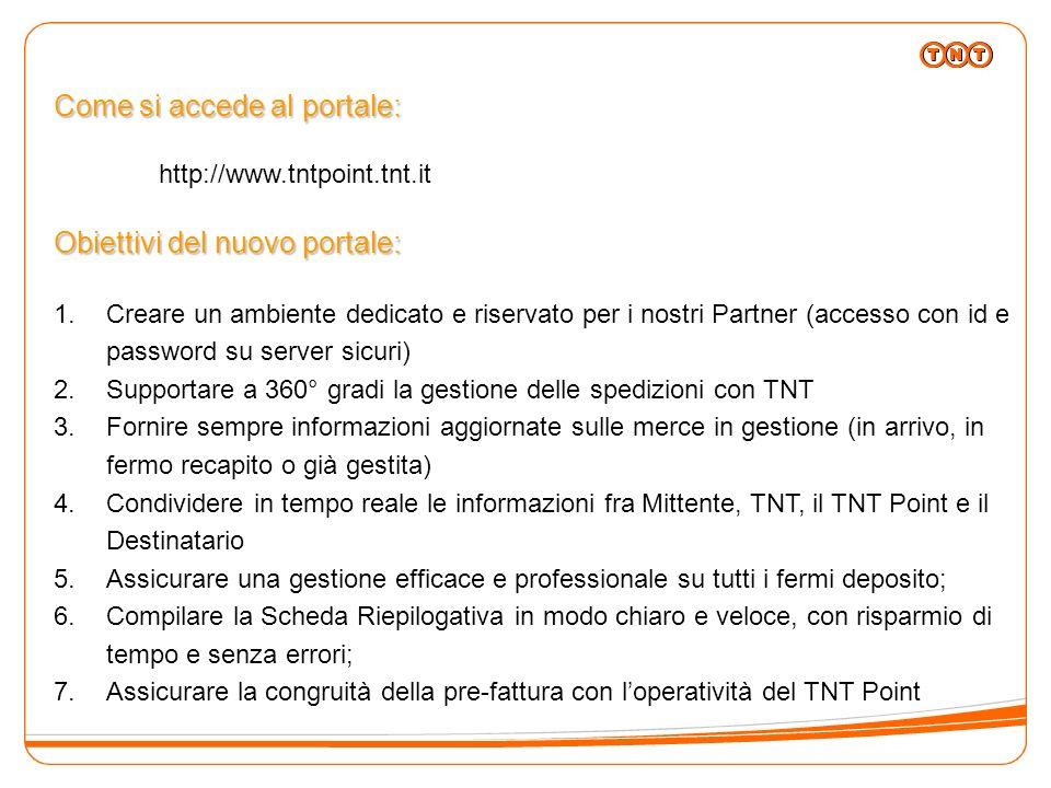Come si accede al portale: http://www.tntpoint.tnt.it Obiettivi del nuovo portale: 1.Creare un ambiente dedicato e riservato per i nostri Partner (acc
