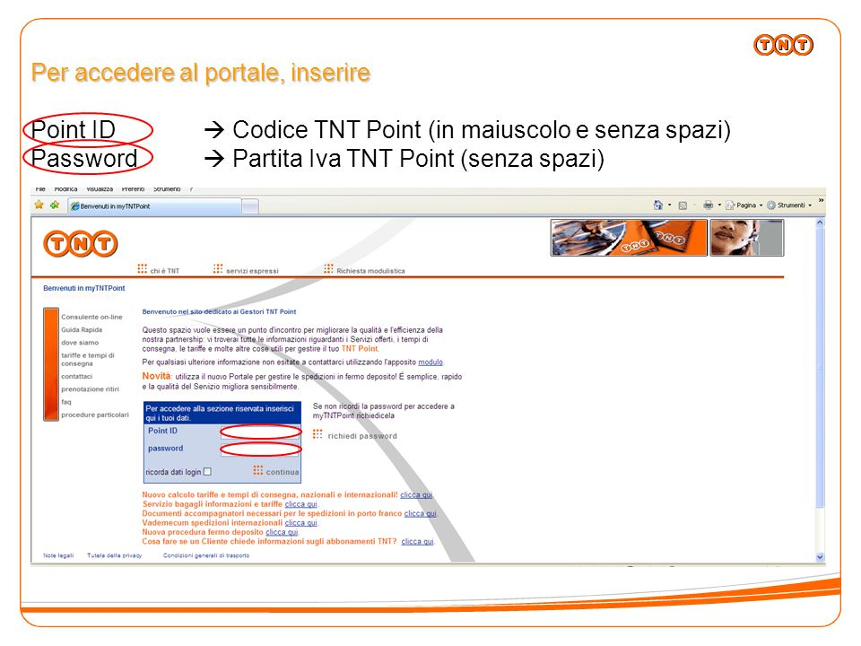 Scheda Riepilogativa Giornaliera Il sistema in automatico propone le spedizioni in partenza (precedentemente inserite dal Gestore TNT Point) e le spedizioni in fermo deposito (consegnate nella giornata).
