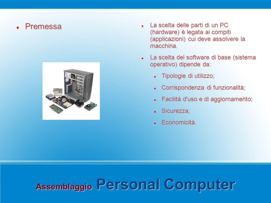 Assemblaggio Personal Computer Premessa Premessa La scelta delle parti di un PC (hardware) è legata ai compiti (applicazioni) cui deve assolvere la macchina.