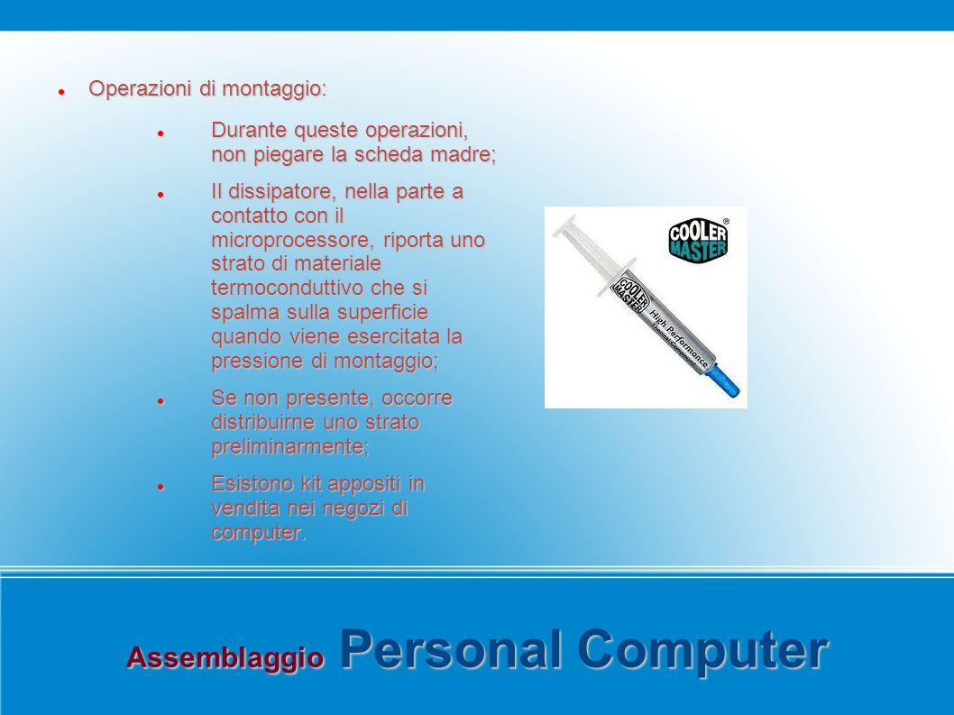 Assemblaggio Personal Computer Operazioni di montaggio: Operazioni di montaggio: Durante queste operazioni, non piegare la scheda madre; Durante quest