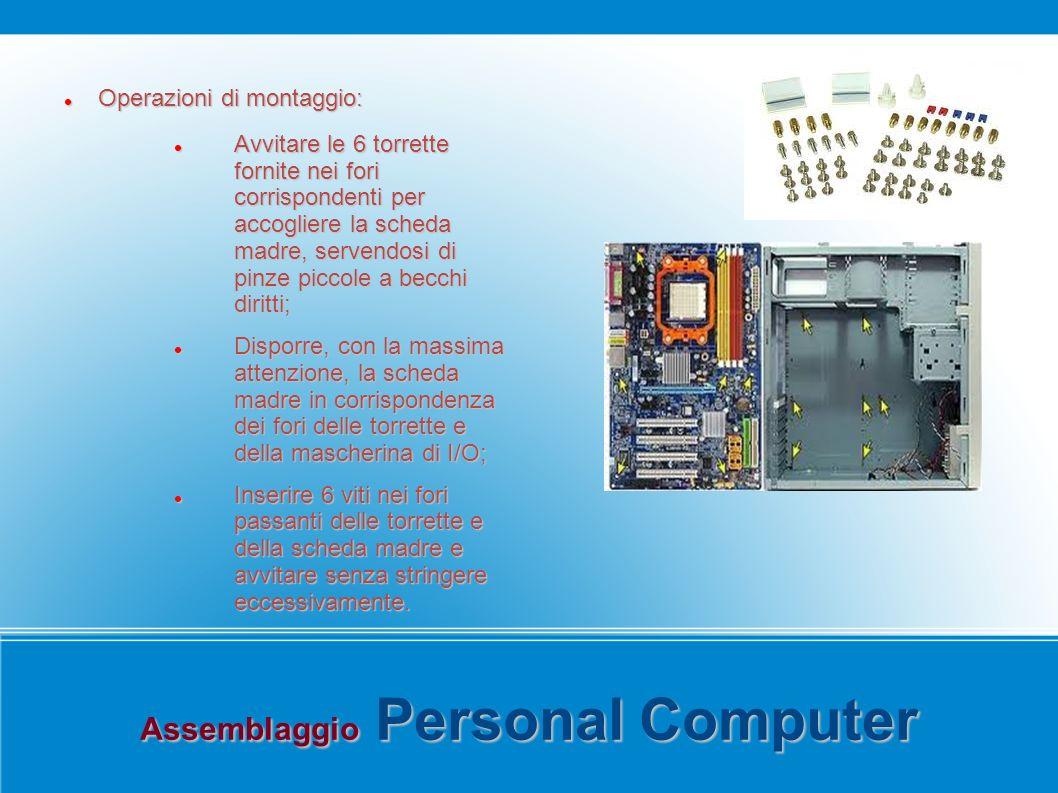 Assemblaggio Personal Computer Operazioni di montaggio: Operazioni di montaggio: Avvitare le 6 torrette fornite nei fori corrispondenti per accogliere